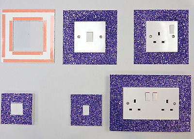 Purple Glitter Fabric Switch Socket Covers With Double Side Tape Switches Cover