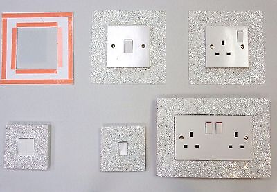 White Glitter Fabric Switch & Socket Covers With Double Side Tape Switches Cover
