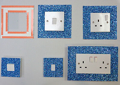 Teal Glitter Fabric Switch Socket Covers With Double Side Tape Switches Cover