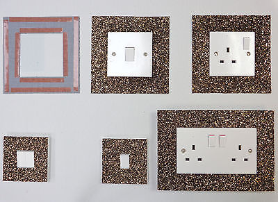 Brown Glitter Fabric Switch Socket Covers With Double Side Tape Switches Cover