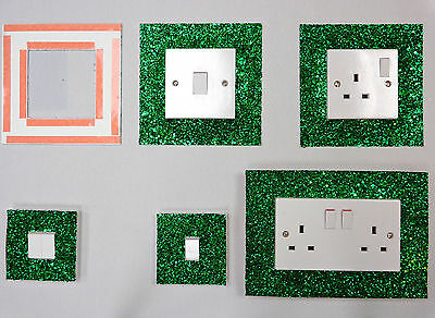 Green Glitter Fabric Switch Socket Covers With Double Side Tape Switches Cover
