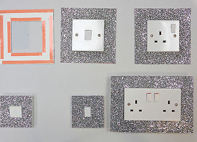 Silver Glitter Fabric Switch Socket Covers With Double Side Tape Switches Cover