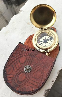 Antique Brass Push Button Compass Ship Nautical Vintage Handmade Instrument Gift