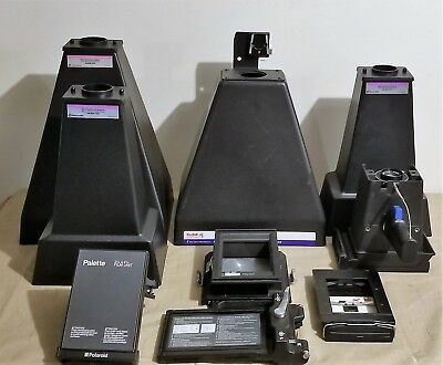 Lot of 9 Electrophoresis Systems Photo Documentation Hoods, Film Back, Camera