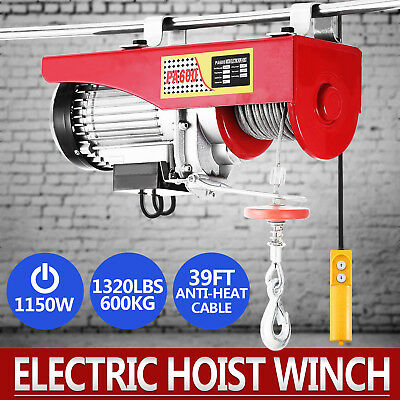 1320Lbs Electric Hoist Winch Lifting Engine Crane Wire Motor Steel Double Line