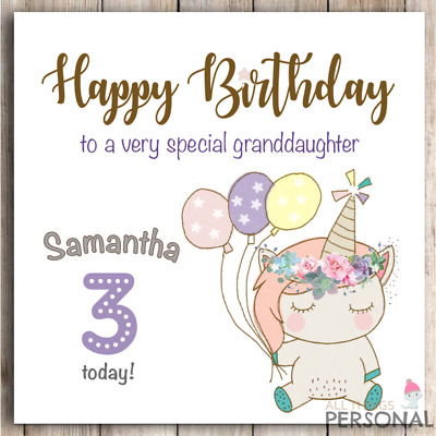 Personalised Unicorn Birthday Card For Granddaughter Daughter Niece Sister Cute