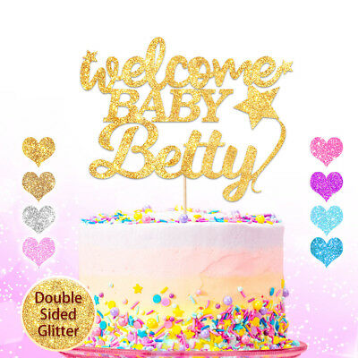 PERSONALISED Custom Welcome Baby Shower Cake Topper Name Double Sided Glitter