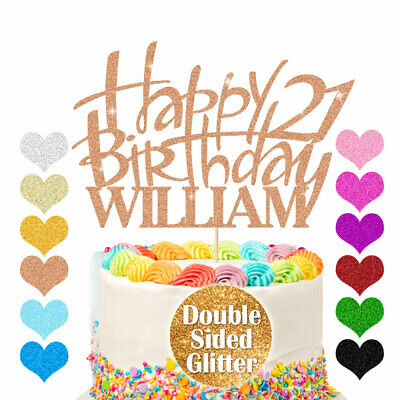 Happy Birthday Cake Topper Personalised Glitter Custom Any Name Any Age Décor