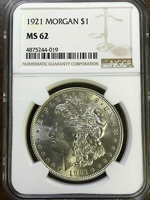 1921 Morgan Silver Dollar - NGC MS62 - BRILLIANT UNCIRCULATED - #244-019