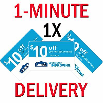 𝟏× Lowes $10 OFF $50Coupon Exp 𝟎𝟕/𝟏𝟓 In-Store & Online - Instant Delivery