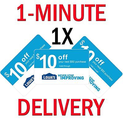 𝟏× Lowes $10 OFF $50Coupon Exp 𝟎𝟕/𝟐𝟎 In-Store & Online - Instant Delivery