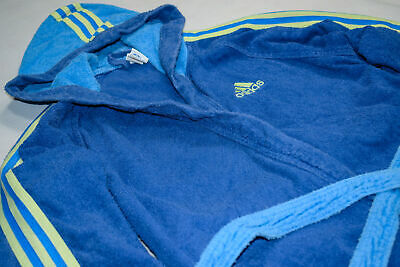 Adidas Bade Mantel Bathing Coat Suit Vintage Blau Neon Gelb 2001 D 152 Kids M