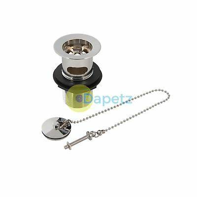 "Chrome-Plated Brass Basin Waste Slotted 1-1/4"" (32mm) With Plug And Chain 491344"