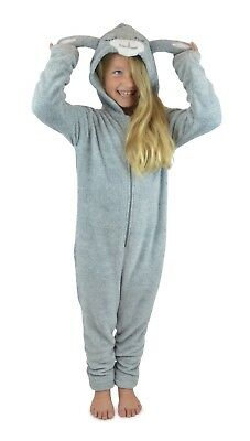 Kids Girls Hooded Lamb Design All In One Fleece Grey Pj Lounge Wear Age 7-13 New