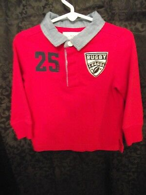 The Place Boys Numbered/Logo Rugby Shirt, Size 2T,  RED cotton