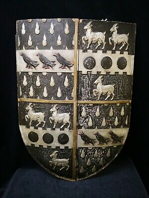 Unique Victorian Gothic Hand Carved Oak Hand Painted Armorial Shield 3ft x 2ft
