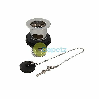 "Slotted Basin Waste Plug & Chain 1-1/4"" (32mm) Fits Standard Waste Pipes"