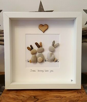 Bunnies rabbits hand crafted pebble art picture. 18cm. box frame.