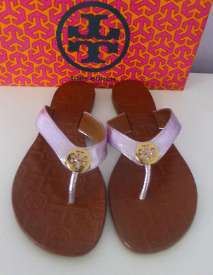 8f40b889cc61 TORY BURCH THORA Flip Flop Thong Sandals Metallic Rosa Leather Gold Size 8  New