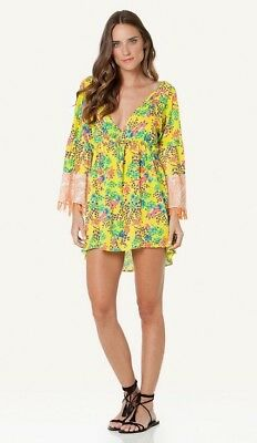c4cfa76e14a22 SOFIA by ViX Lola Flower 3/4 Sleeve Deep V-Neck Yellow Caftan Swim