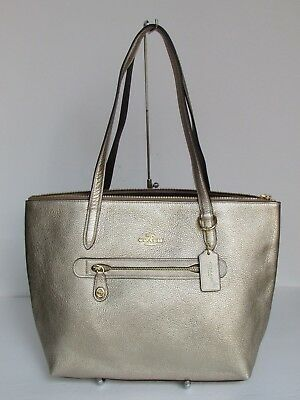 e5a604c1b96 COACH METALLIC LEATHER Taylor Tote 23592 Color-Platinum -  139.00 ...