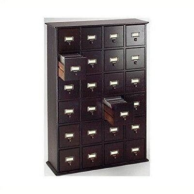 Tall Retro Wood Cabinet Library Card Catalog 24 Drawer Multimedia
