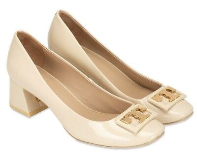 255e17089e6 NEW Tory Burch GIGI Pumps Soft Patent Leather Dulce de Leche Ivory Shoes 9.5