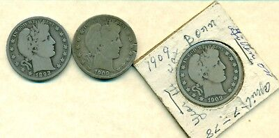 Lot 657. Usa Silver Barber Half Dollars 1893,1909,1909 , Very Nice Condition