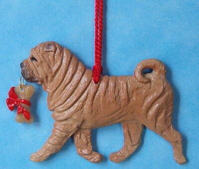 Shar Pei-bone-red-Artist dog breed ornament.