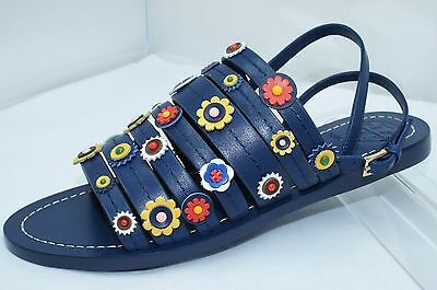 958cc350bee7 New Tory Burch Marguerite Flat Sandals Shoes Size 7.5 Blue Navy Sea Sale  Gift