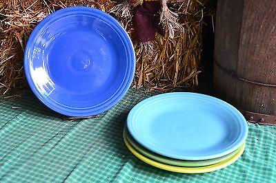 4 DINNER PLATES set lot turquoise shamrock lapis lemongrass FIESTA WARE