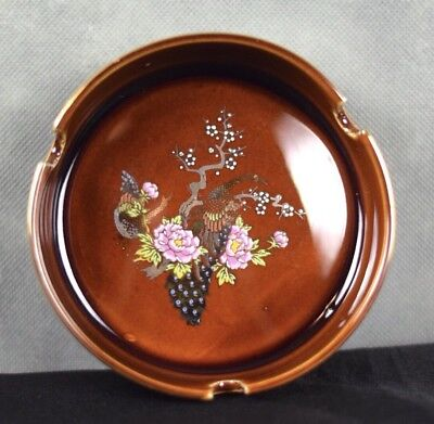 Ashtray Vintage Porcelain Hand-painted Tree Peacock Round Gray Japan