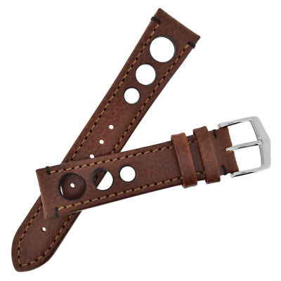 New 20mm Hirsch Brown Untextured Leather Watch Strap 05102010-2-20