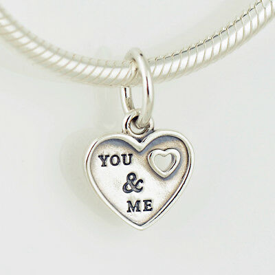 Authentic Pandora Charm Sterling Silver You & Me Dangle Heart #791430