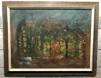 VINTAGE 1963 MID CENTURY ABSTRACT OIL PAINTING of a CITY SIGNED DATED FRAMED