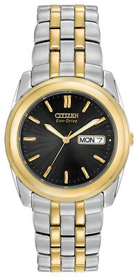 Citizen Eco-Drive Men's Black Dial Two Tone Bracelet 35mm Watch BM8224-51E