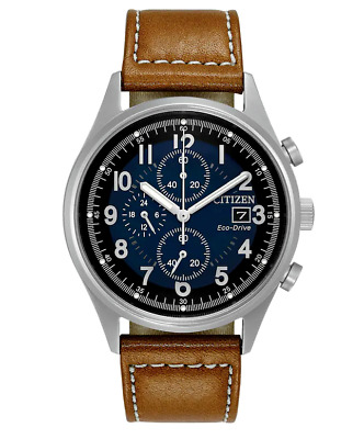 Citizen Eco-Drive Chandler Men's Chronograph Brown Leather 42mm Watch CA0621-05L