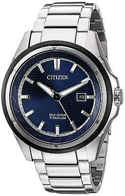 Citizen Eco-Drive Men's Blue Dial Silver-Tone Titanium Bracelet Watch AW1450-89L