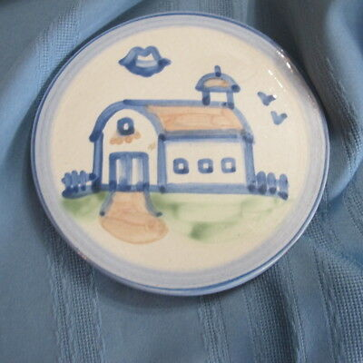 M.A. Hadley Pottery Church Barn Wall Hanging Plaque or TRIVET - Round