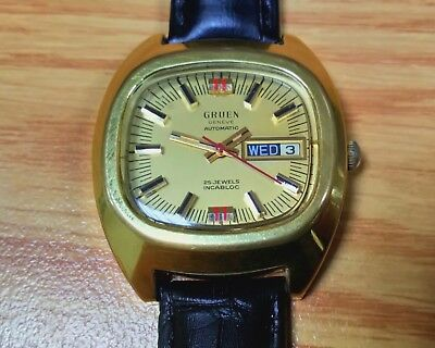Gruen Geneve Vintage Gold Plated Mechanical Automatic Men's Watch AS2066 Caliber
