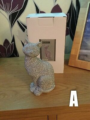 Glittery silver diamante Cat ornament figurine decorations 2 styles- 19x10x8cm.