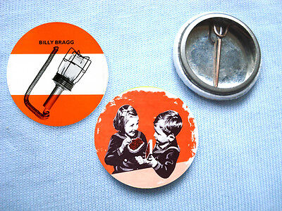 Billy Bragg-Set Of 2  Badges Morrissey The Smiths Elvis Costello Paul Weller