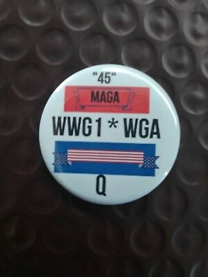 Trump Wwg1Wga Maga Q Color Button Made In Usa Drain The Swamp