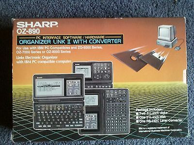 Vintage Sharp Organizer Link II With Converter,OZ-890,PC Interface Software/Har