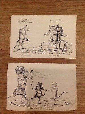 Delightful ink drawings of comical cats, 19th century