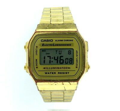 25867ce2c155 Vintage LCD Digital CASIO ELECTRO LUMINESCENCE A168 3298 DH 18k Gold Toned  Watch