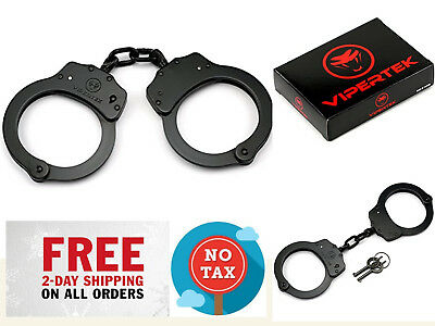 Double Lock Steel Police Edition Professional Grade Handcuffs Heavy Duty Black