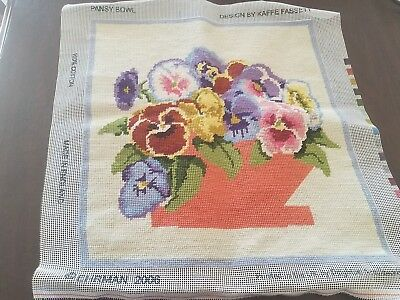 Completed Ehrman Needlepoint Canvas Pansy Bowl Kaffe Fassett Design Dated 2006