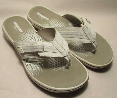 d3316089127c40 Clarks Collection Brinkley Jazz Womens 8M White Gray Padded Adjustable Flip  Flop