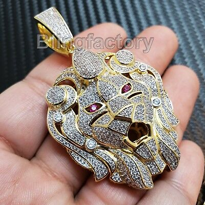 Hip Hop Iced Out Gold Plated Brass Micro Pave Bling Lion Head Pendant Sbch1168G